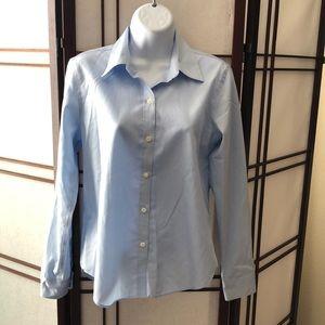 Ann Taylor blue button down work shirt blouse